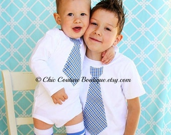 Easter Spring Tie Shirts. Matching Big Brother Little Brother Tie Shirts Plaid Matching Wedding Birthday coming home Outfit Valentine's Day