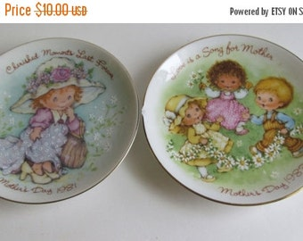 SALE 2 plates Cherished Moments Last Forever  Love is a Song For Mother Inspirational Quotes Mothers Day Plates Avon Collectible Plates 1981