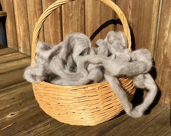 100% Alpaca Roving - Gray - 4 ounces