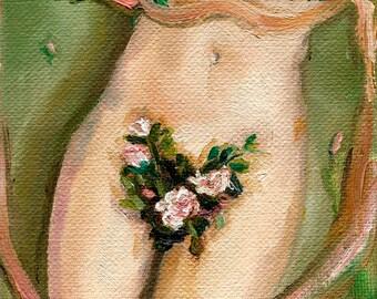Tiny Nude I - Giclee Art Print, Figure Painting, Nude Painting, Nude Art