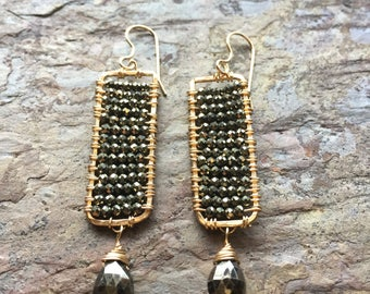 Gold statement earrings with pyrite gemstones