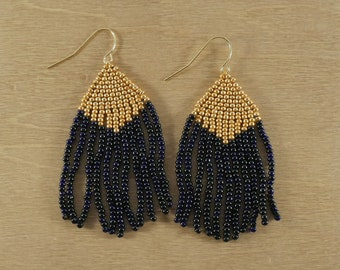 Bead Woven Dangling Earrings in Gold and Black