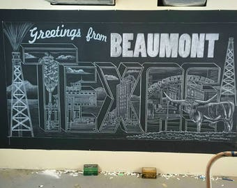 Chalkboard mural - hand drawn & shipped - 4'x8' rolled canvas mural - smudge resistant art - easily install - looks like a real chalbkoard