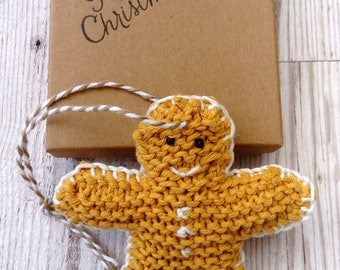 Gingerbread man decoration;  gingerbread man; knitted gingerbread man; Christmas decoration; gingerbread man Christmas decoration
