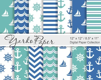 Navy Blue And Turquoise Nautical Digital Paper Pack, 12x12, 8.5x11, Chevron, Anchor, Stripes, Geometric, 14 Sheets - Instant Download