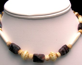 Brown Decorated Glass Beaded Necklace With Carved Accent Beads And Tubes - Item 110