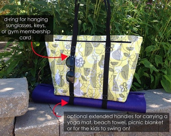 Sewing Pattern: Digital, Motherload Tote, shoe compartment, yoga strap, travel,beach, gym tote, organizer, zipped coin pocket, workout,