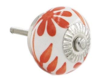 Orange & White Ceramic Drawer Knob, Pull for Dresser, Hutch, Desk, Cabinet - i467s