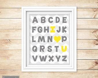 I Love Heart You Alphabet Grey Yellow Learning  Wall Art Nursery Girl's Room Decor ABC's Printable 11x14 Digital JPG Instant Download