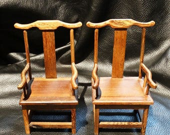 Miniature Chinese Chairs Vintage Pair