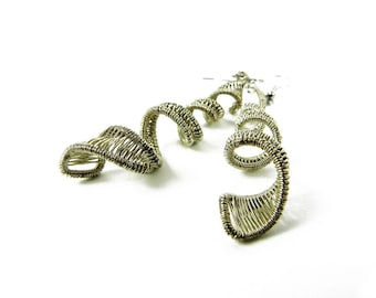 Isolt woven earrings in sterling silver