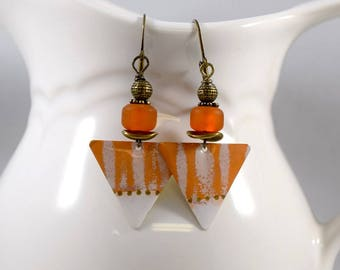 Handmade Earrings, Paint and Resin Earrings, Orange and White Earrings, Boho Earrings, Artisan Earrings, Brass Earrings, Striped,  AE010