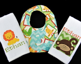 Personalized Safari Themed Baby Bib and 2 Burpcloth Set