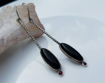 Sterling silver black onyx and ruby dangle earrings