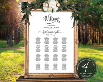 Wedding Guests Seating Chart Sign, Instant Download Editable  Powerpoint templates, Seating plan, Guest Seating Board, Alphabet (TED372_7)