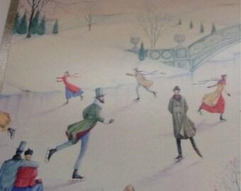 Vintage Christmas card by American Greetings ice skating unused+env