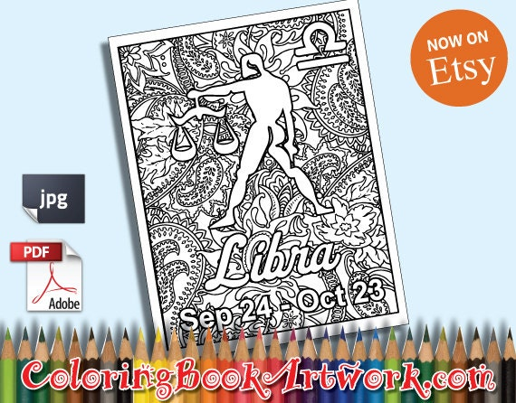 Libra Zodiac Sign Printable Adult Coloring Book Page Instant