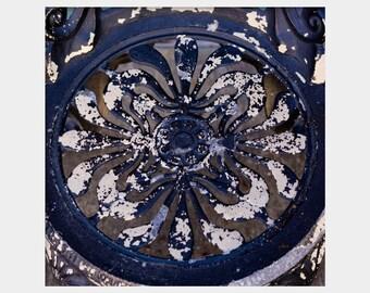 Navy Blue Art, Rusted Wrought Iron, Midnight Blue Art, Architecture Detail, Dark Blue Wall Decor, Navy Blue Photo, Dark Blue Art, Square Art