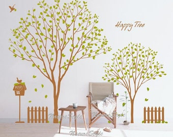 Happy Tree with Flying Birds -Vinyl Wall Decal,Sticker,Nature Design