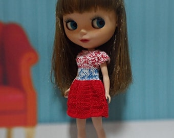 blythe dress, knitted  doll red mix