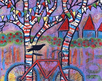 Whimsical Bike Art. Print with Raven. Purple Art Print. Red Bicycle Wall Art with Colorful Trees and Prayer Flags. Gift for bicyclist.