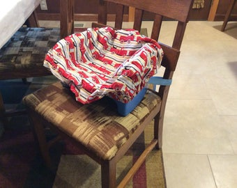 Booster Seat Cover, Old Red Truck with Dog