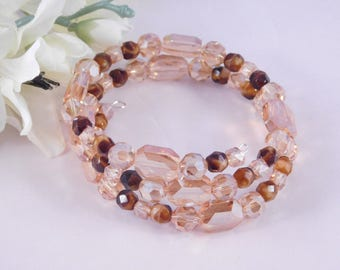 Amber Glass Bracelet - Beaded Wrap Bracelet - Elegant Jewelry - Gift for Her