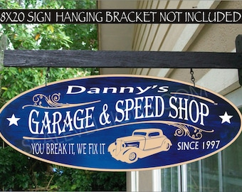 902 Car Garage Gift Man Cave Sign Garage & Speed Shop Decor Hot Rod Street Rod Family Name Aluminum Custom Personalized Sign