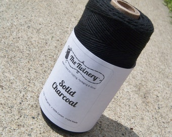 FULL SPOOL - Twinery Twine - 100% Cotton -  Charcoal Black - New Solids - 240 yards