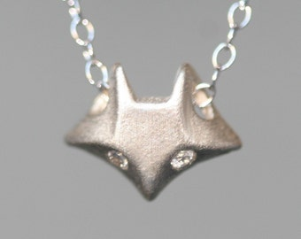 Fox Necklace in Sterling Silver with Diamonds