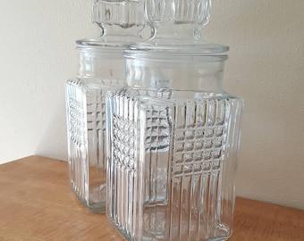Apothecary Jar Large Koeze's Pretzel 1989 Jars Glass Canister Jar Set of 2