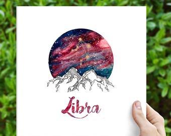 Libra Zodiac Watercolour Painting