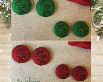 Dr. Suess How the Grinch Stole Christmas fabric button stud earrings; Cindy Lou Who; Whoville; red and green; 1.5 cm;1.9cm;christmas gift