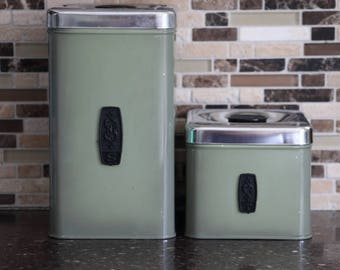Made in Canada Vintage Green Sugar & Tea Canister - Set of 2