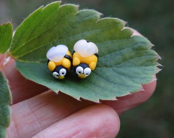 Bees,Bees polymer clay earrings,Studs,polymer clay stud,Kids polymer clay,Bees earrings,Birthday Gift,Kids Jewelry