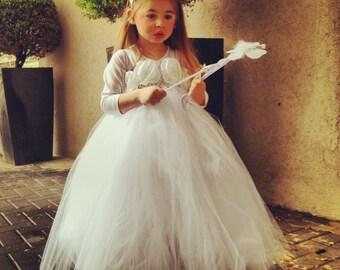 TUTU Flower girl dress White Ivory chiffton flowers tutu dress baby dress toddler birthday dress wedding dress 1-8T