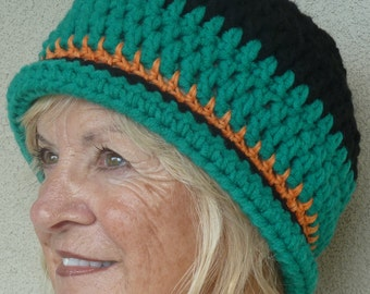 Women's black and green winter hat with a touch of orange, super cute crochet hat, original and unique, warm and cozy hat, gift for her