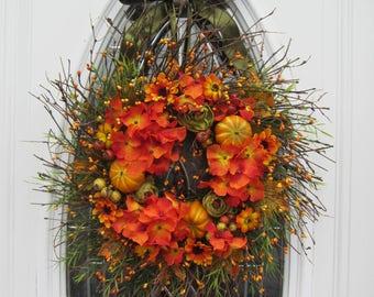 Fall Wreath, Twig Wreath, Fall Door Wreath, Pumpkin Wreath,  Hydrangea Wreath, Hydrangea Berry Wreath , Thanksgiving  Wreath, Autumn Wreath
