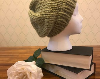 Light green alpaca slouched knit beanie / Free US Shipping