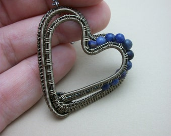 Wire Wrapped Heart Pendant in Gun Metal and Sodalite
