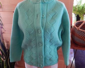 Seafoam / Mint Green Hand Knit Cardigan Size M/L
