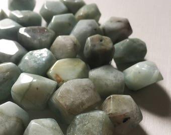 20 x 16mm Medium Faceted Aquamarine Nugget Beads