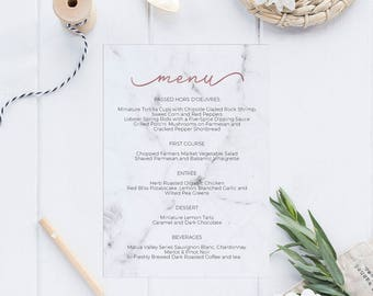Marble Rose Gold Printable Wedding Menu Template, Menu Cards,Menu Template, Editable Menu, Editable PDF Instant Download #E039