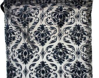 """Organza Drawstring Pouches Black & White Damask 4""""x5""""  (72 pieces) (DBX1294D)"""