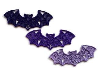Lace Bats, Lace Bat Appliques, Purple Shades, Set of 3