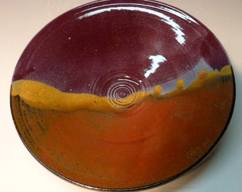 Handmade ceramic bowl Purple and Iron red with blue glazed Colorful Ceramic Bowl