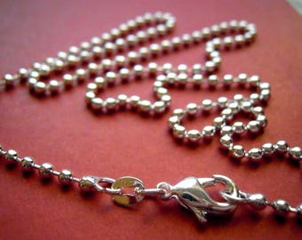 1 -  Silver plated 22 inch 2mm Ball Chain  FAST SHIPPING