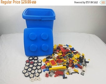 on sale Vintage lego Bucket 1987 lego bricks and vintage lego wheels LEGO LOT