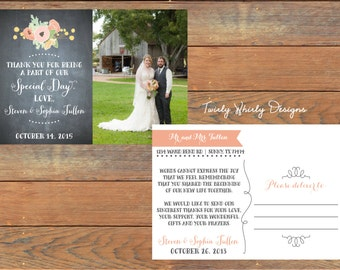 Wedding Shabby Chick Thank You Chalkboard Postcard Printable
