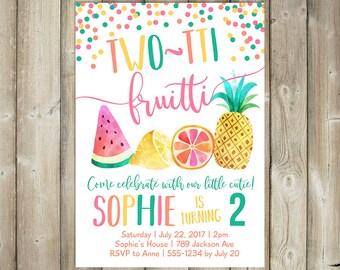 Two-tti Fruitti Birthday Invitation - Girl's 2nd Birthday Invite - DIGITAL FILE